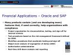 financial applications oracle and sap