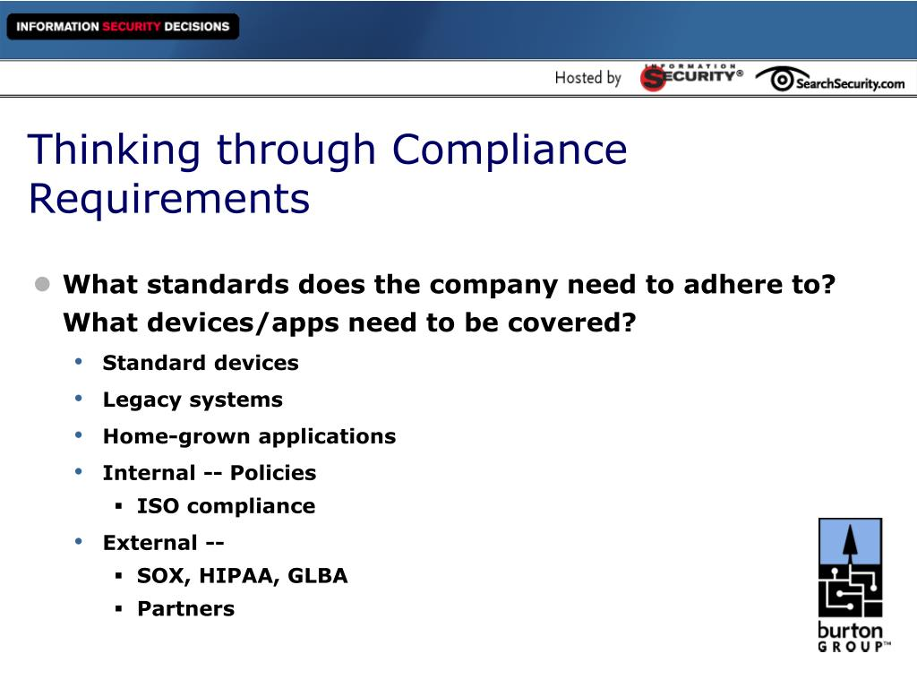 Thinking through Compliance Requirements