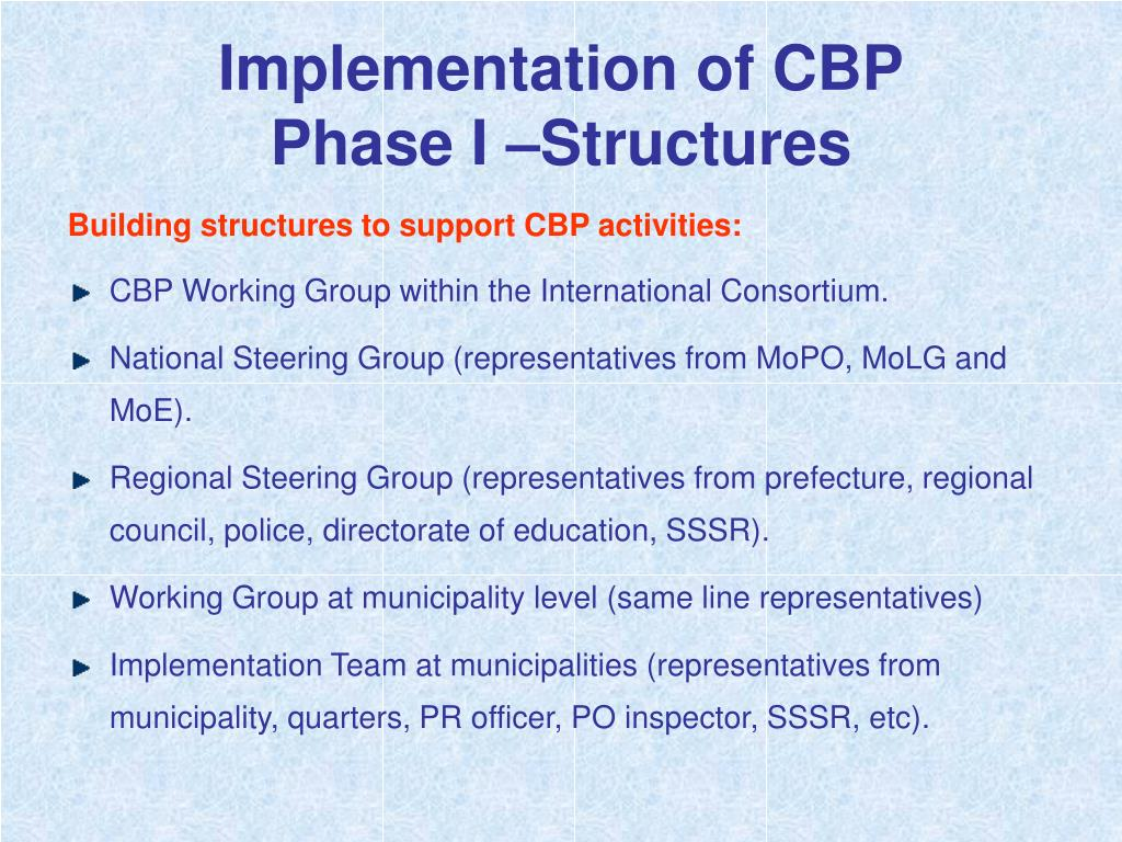 Implementation of CBP