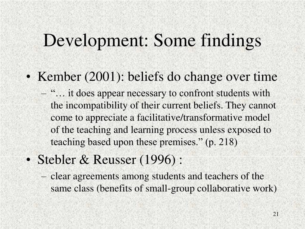 Development: Some findings