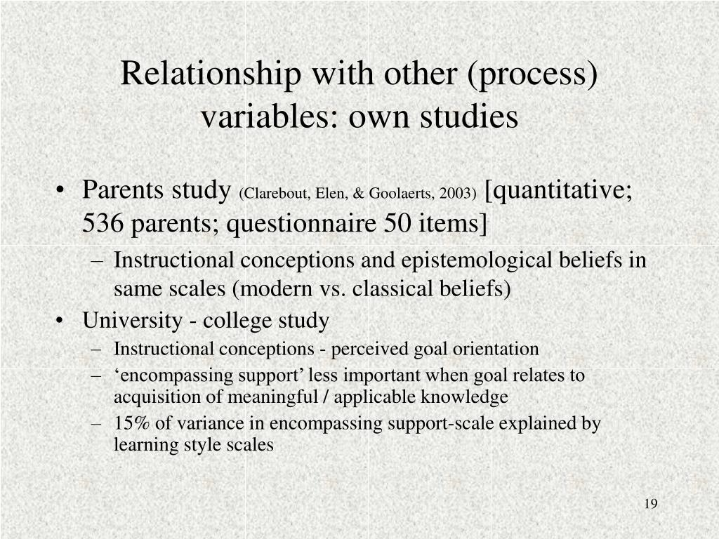 Relationship with other (process) variables: own studies