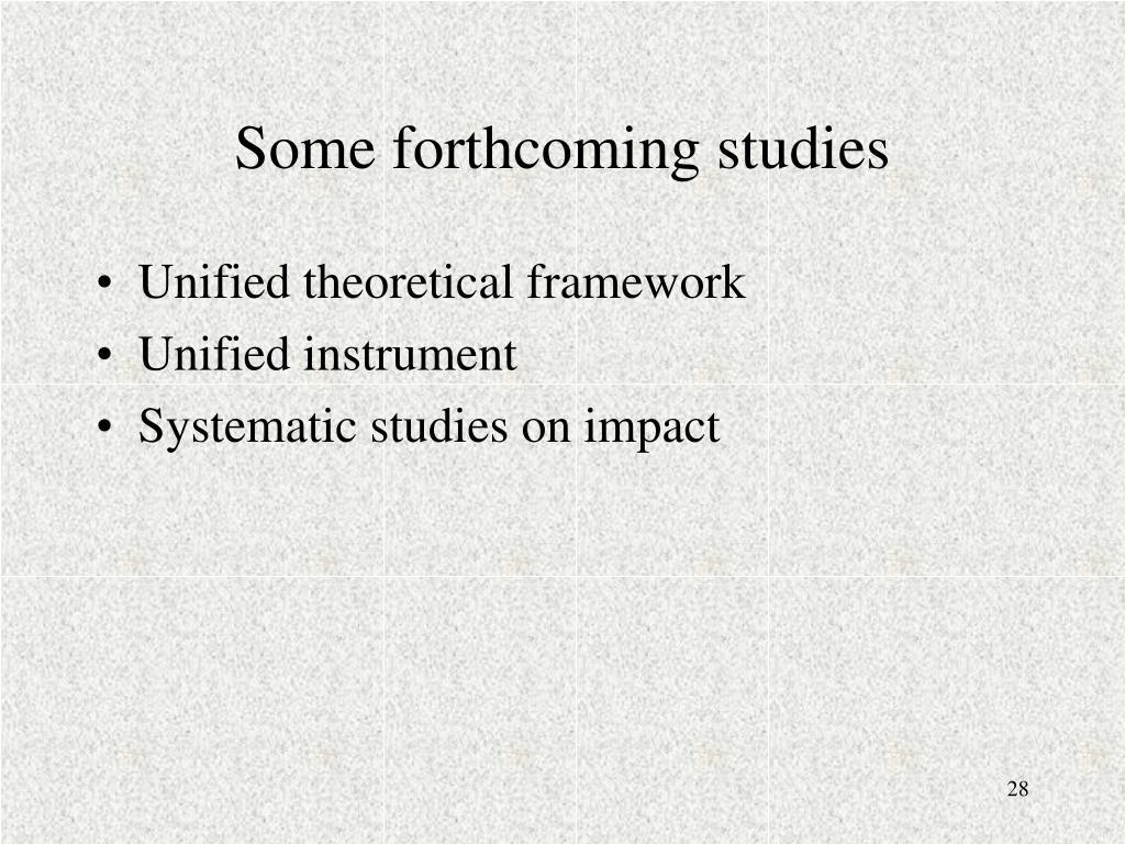Some forthcoming studies