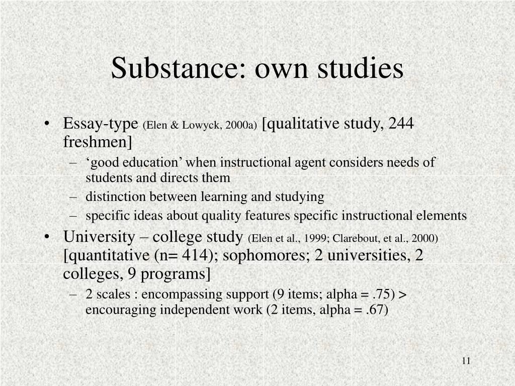 Substance: own studies