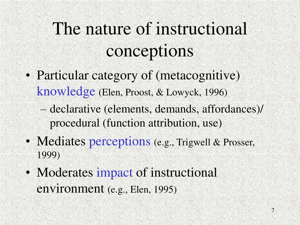 The nature of instructional conceptions