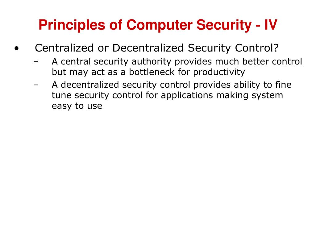 Principles of Computer Security - IV