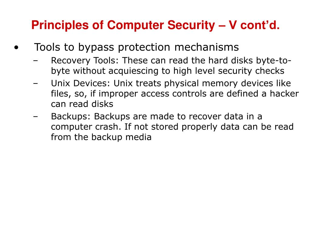 Principles of Computer Security – V cont'd.