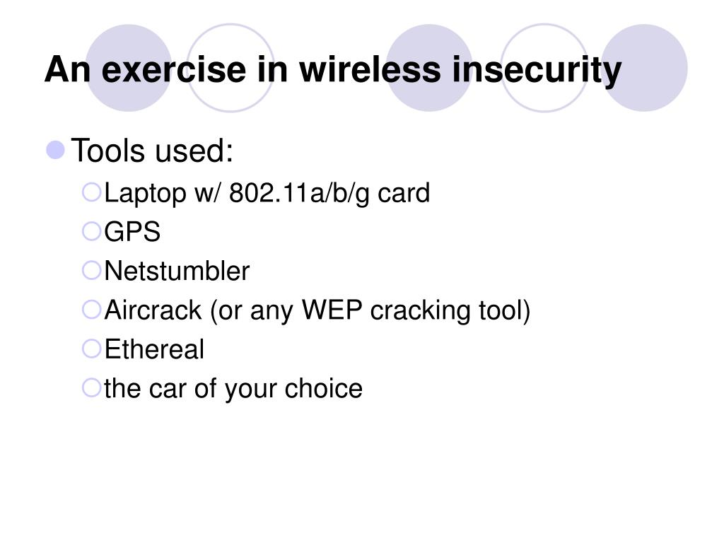 An exercise in wireless insecurity