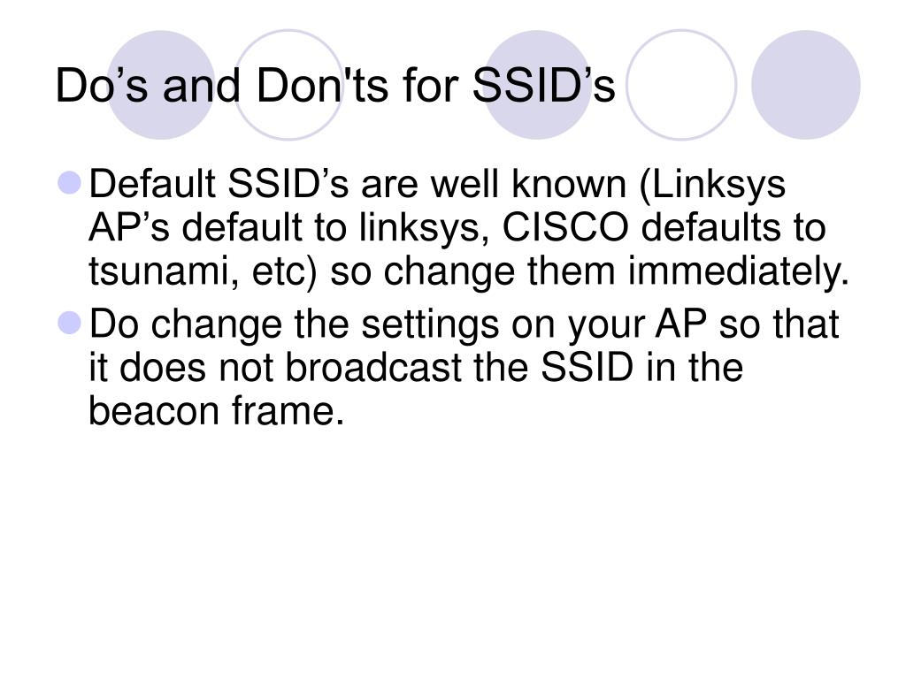 Do's and Don'ts for SSID's