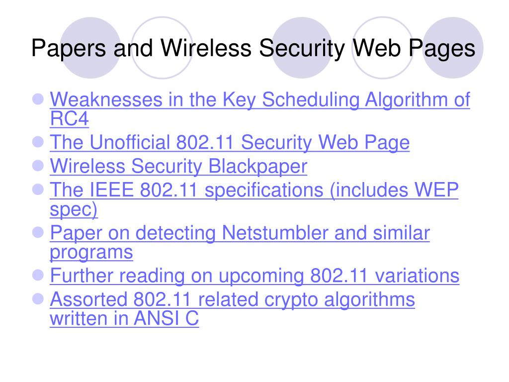Papers and Wireless Security Web Pages