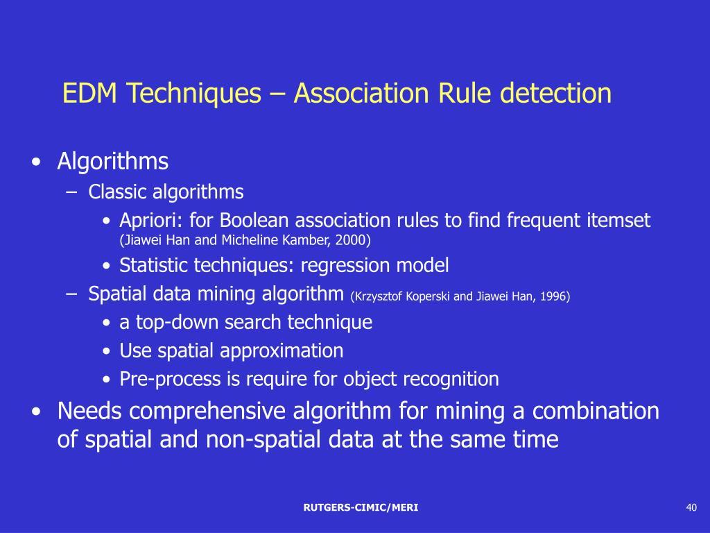 EDM Techniques – Association Rule detection