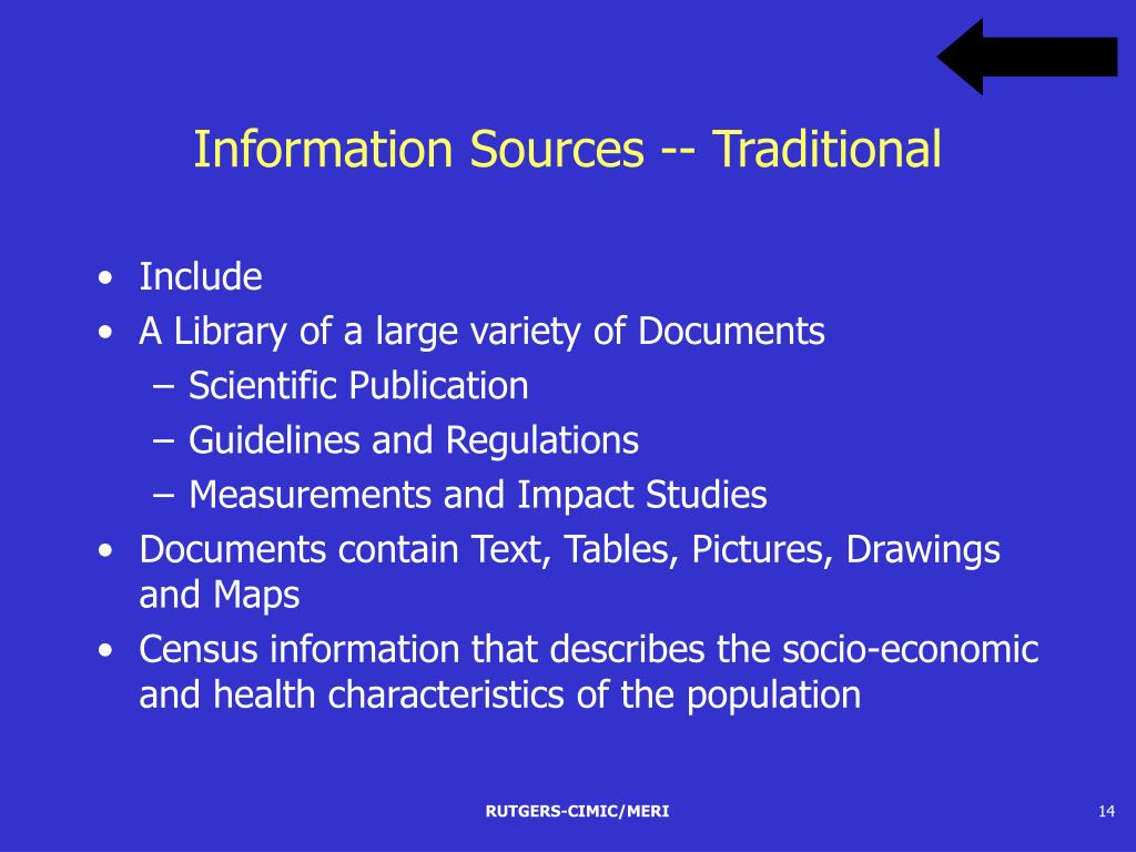Information Sources -- Traditional