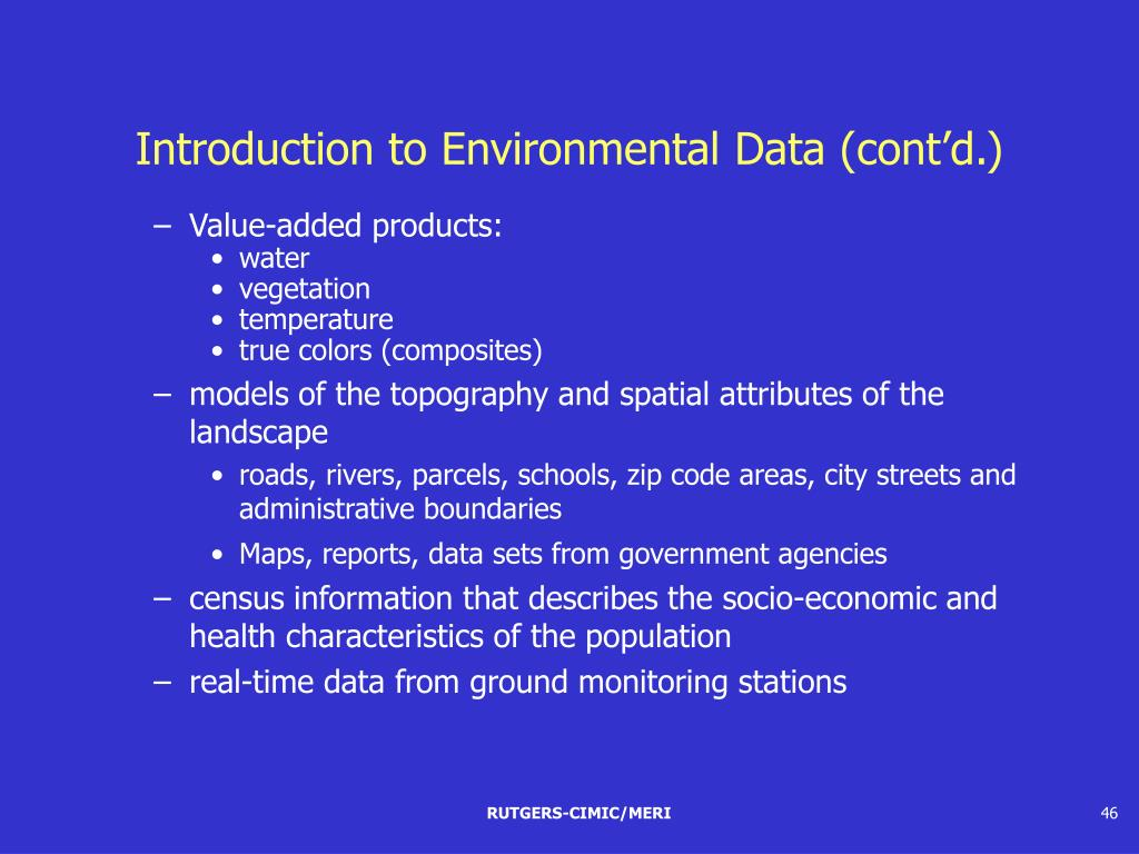 Introduction to Environmental Data (cont'd.)