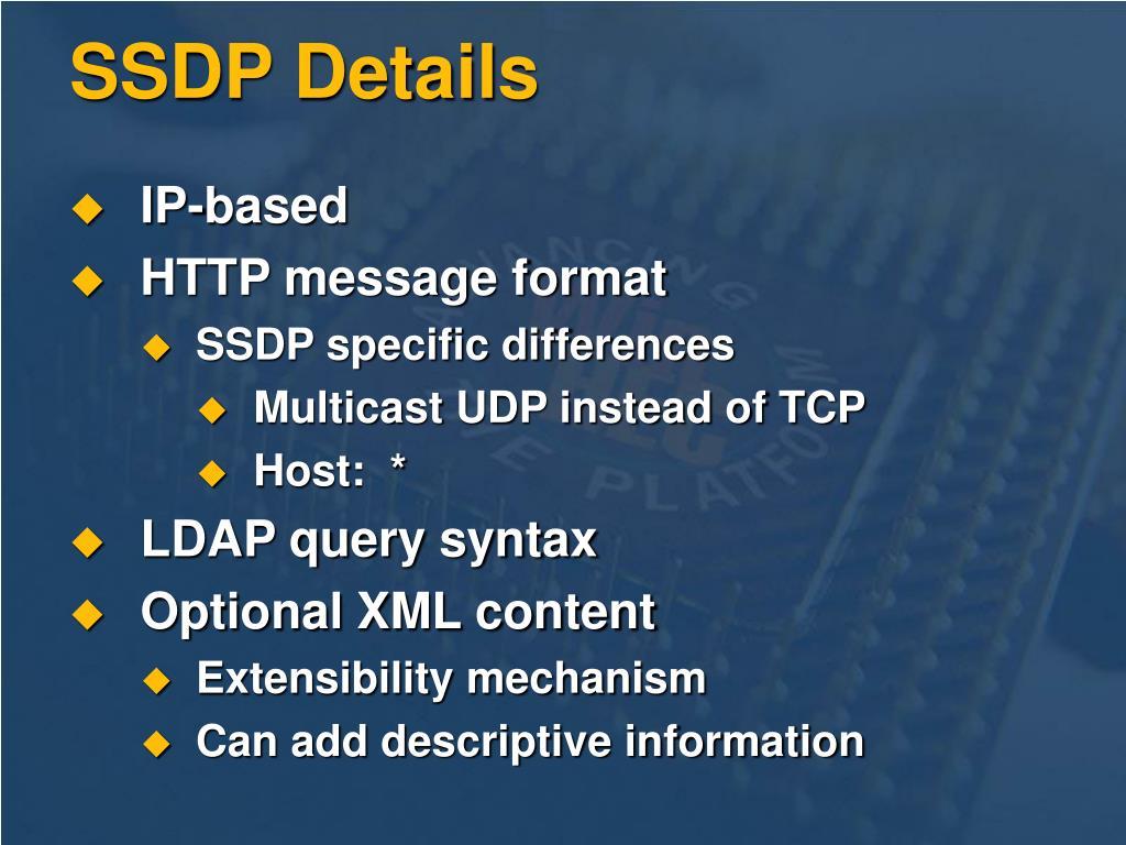 SSDP Details