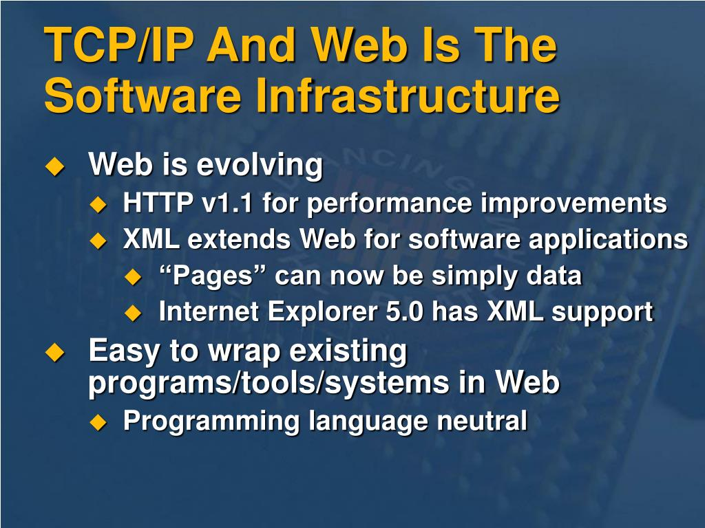 TCP/IP And Web Is The Software Infrastructure