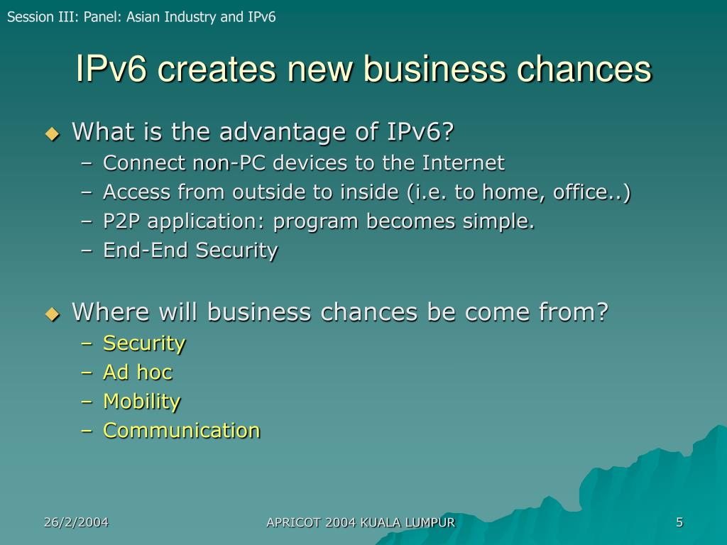 IPv6 creates new business chances