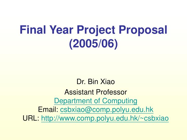 Final year project proposal 200 5 06