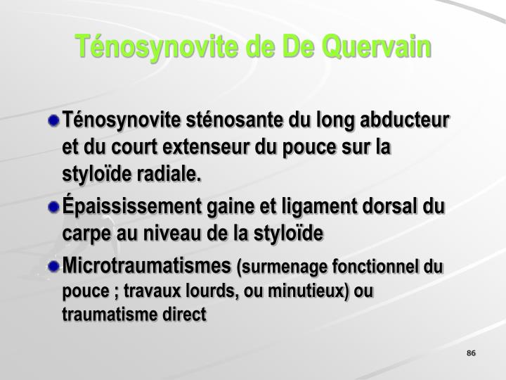 Ténosynovite de De Quervain