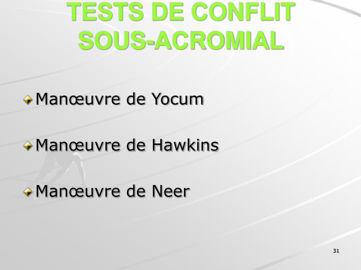 TESTS DE CONFLIT