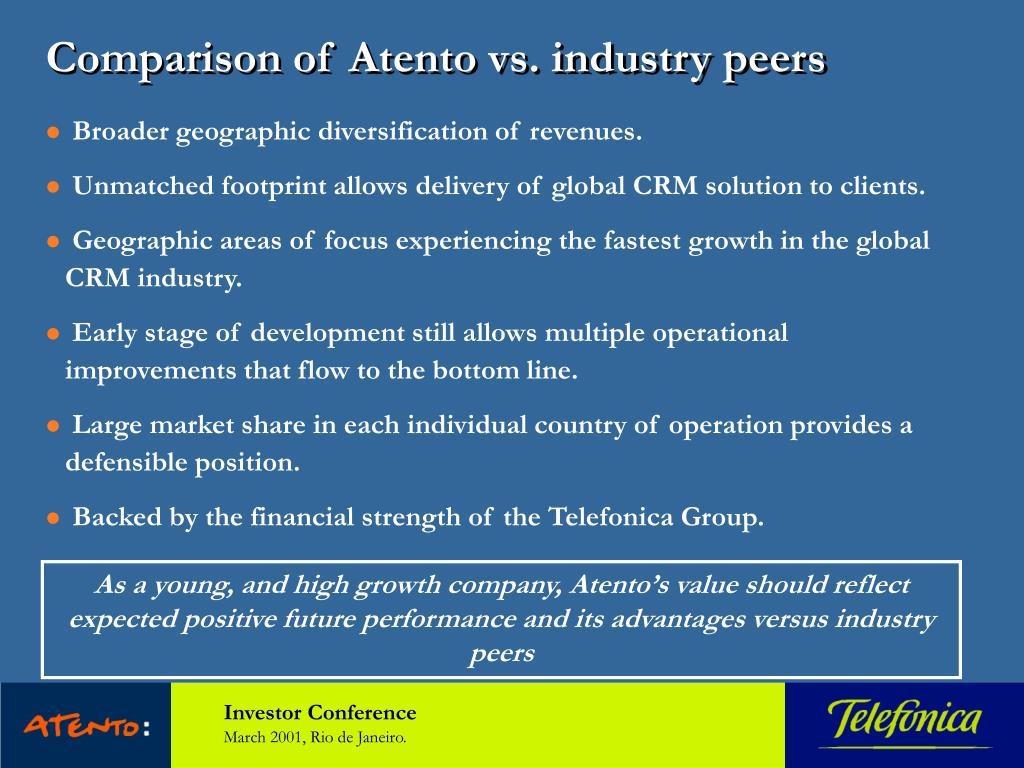 Comparison of Atento vs. industry peers