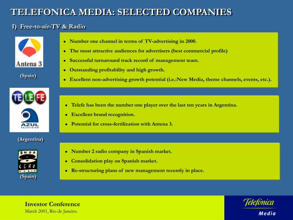 TELEFONICA MEDIA: SELECTED COMPANIES