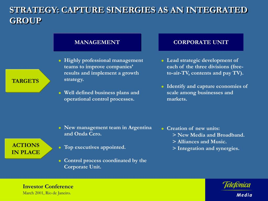 STRATEGY: CAPTURE SINERGIES AS AN INTEGRATED GROUP
