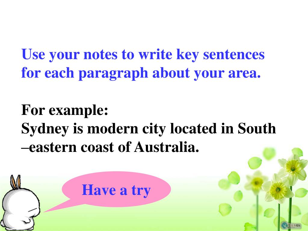 Use your notes to write key sentences for each paragraph about your area.