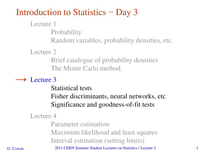 Introduction to statistics day 3