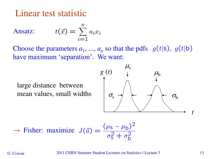 Linear test statistic