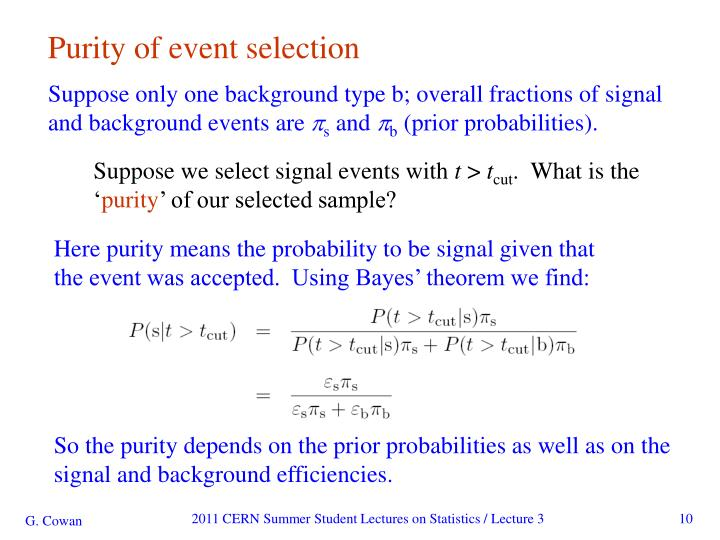 Purity of event selection