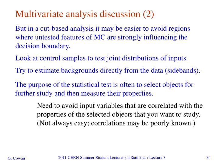 Multivariate analysis discussion (2)