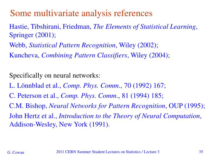 Some multivariate analysis references