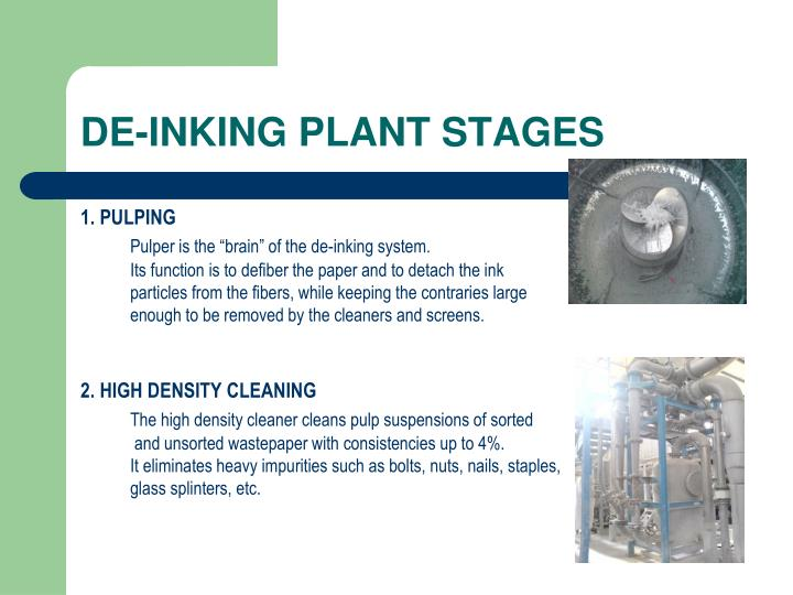 DE-INKING PLANT STAGES