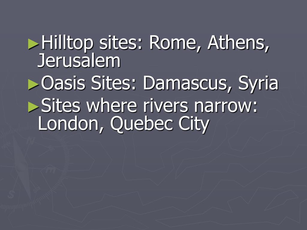 Hilltop sites: Rome, Athens, Jerusalem