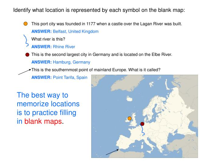 Identify what location is represented by each symbol on the blank map:
