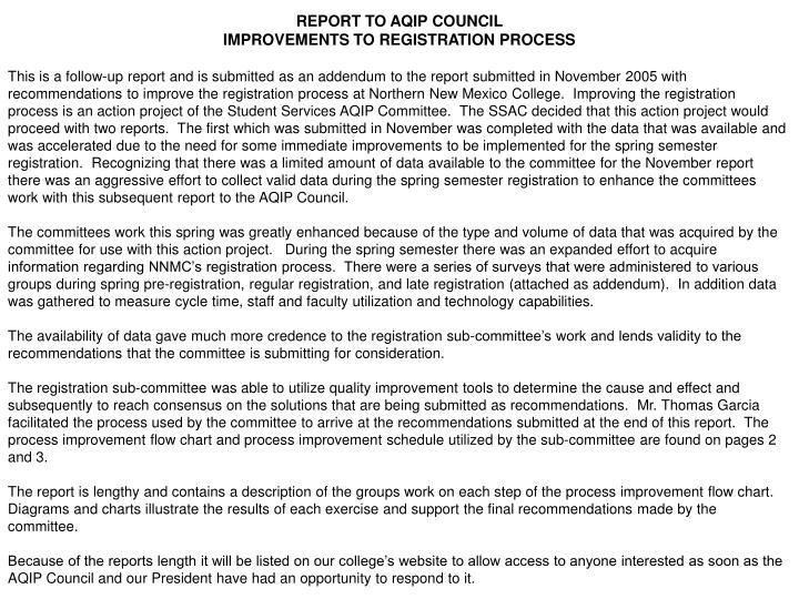 REPORT TO AQIP COUNCIL