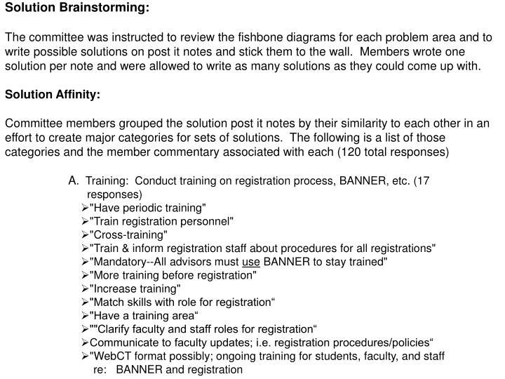 Solution Brainstorming: