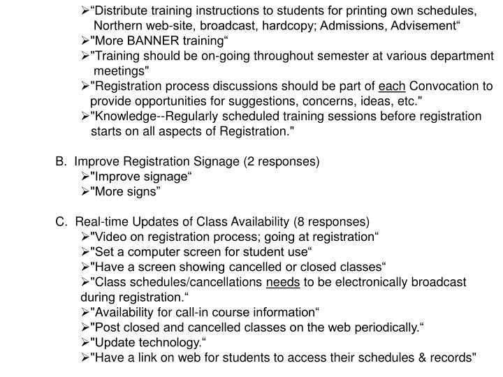 """Distribute training instructions to students for printing own schedules,"
