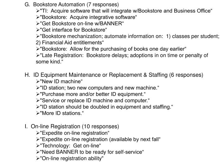 G.  Bookstore Automation (7 responses)