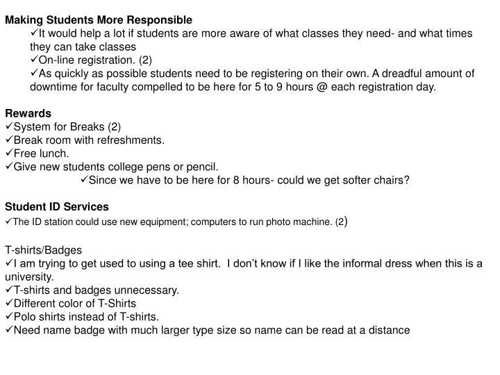Making Students More Responsible