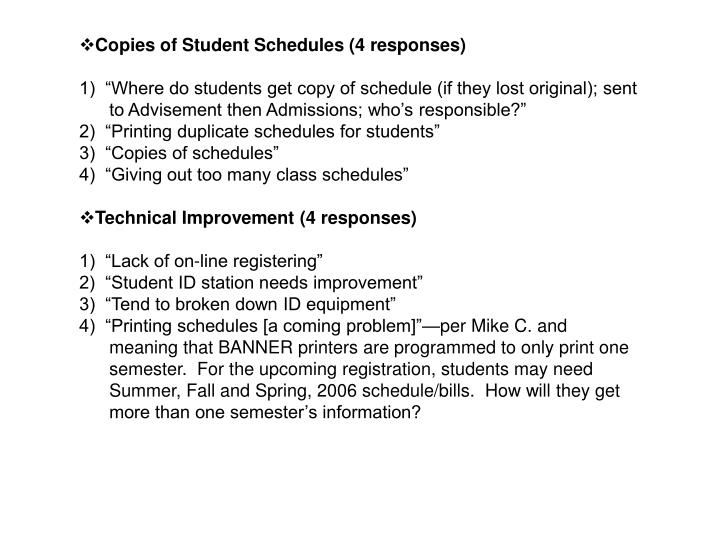 Copies of Student Schedules (4 responses)