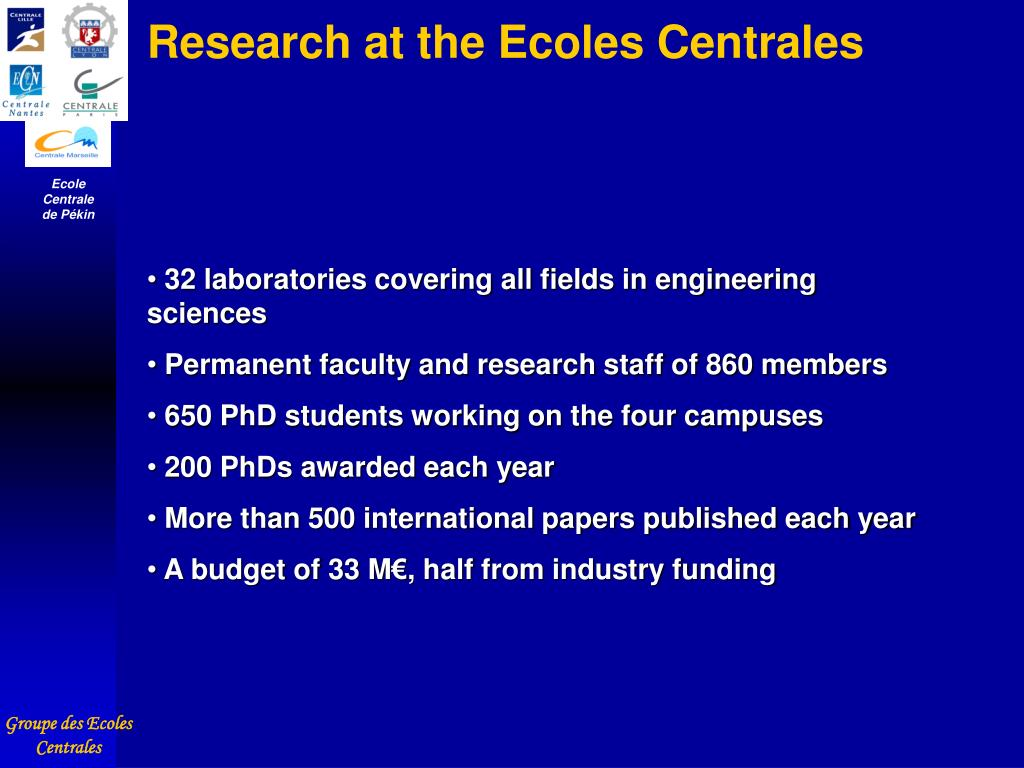 Research at the Ecoles Centrales