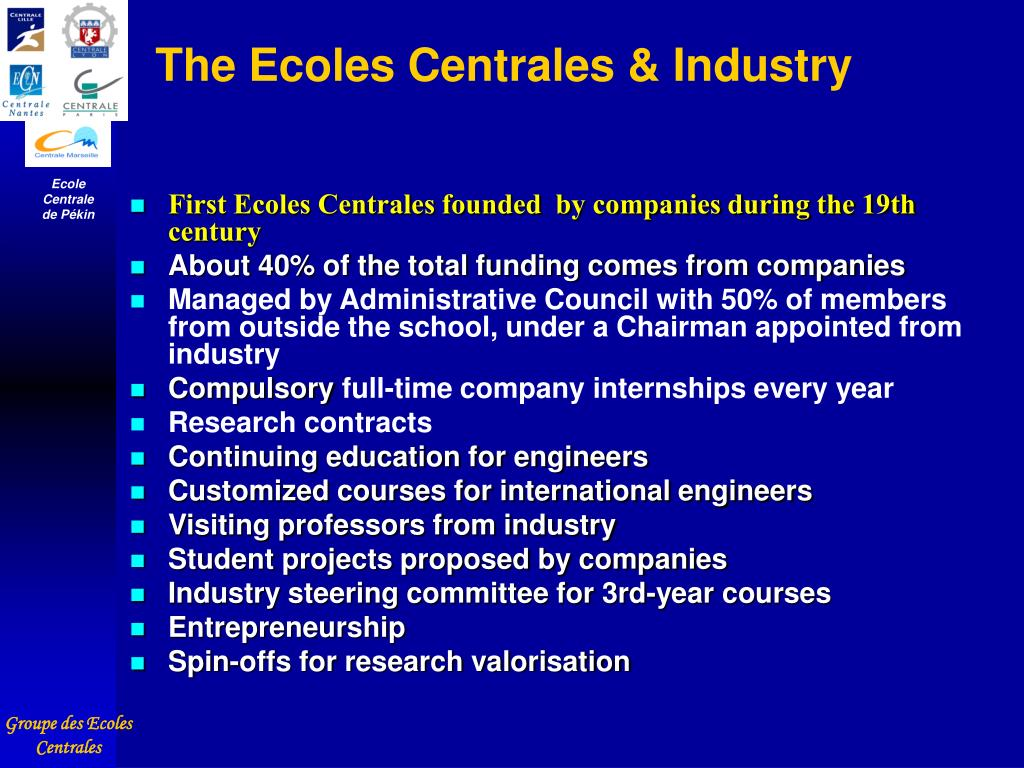 The Ecoles Centrales & Industry