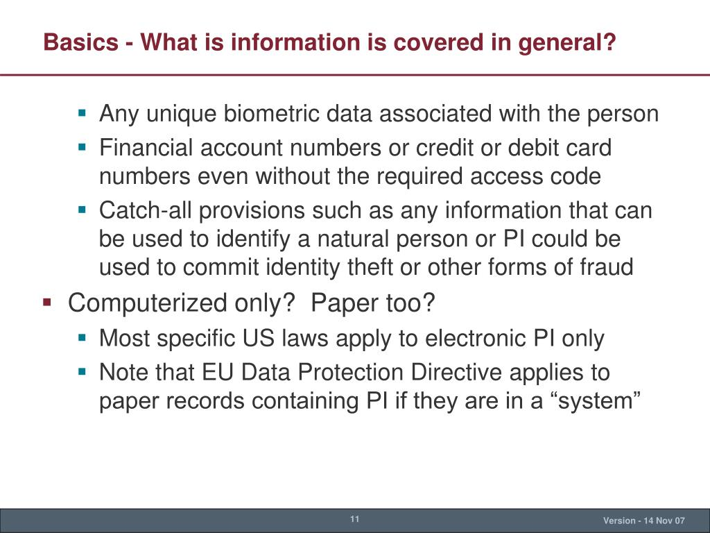Basics - What is information is covered in general?