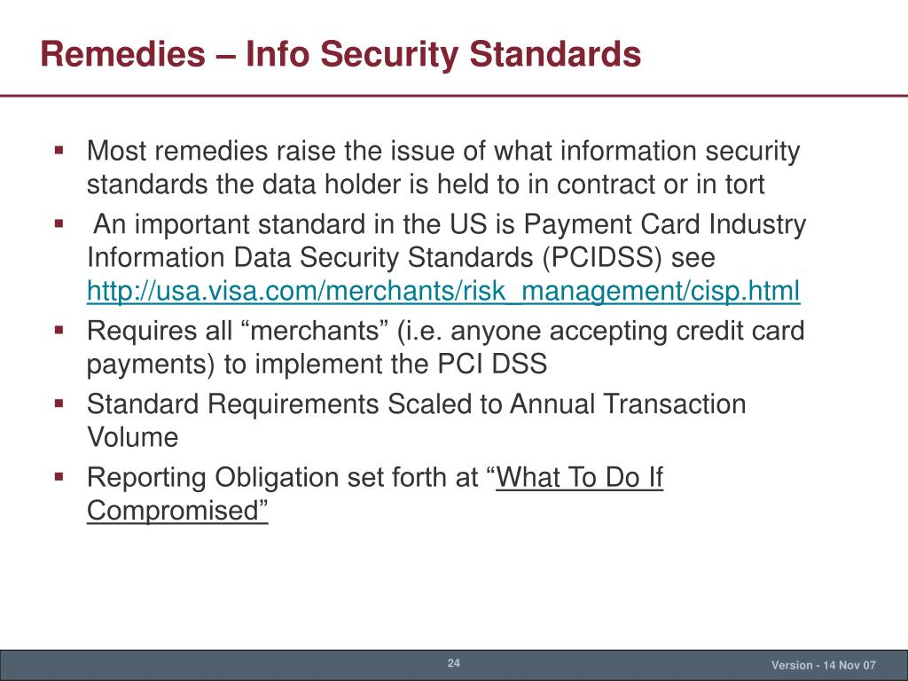 Remedies – Info Security Standards