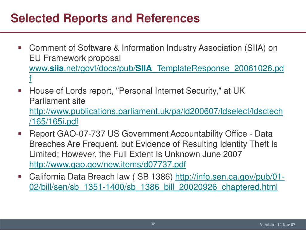 Selected Reports and References