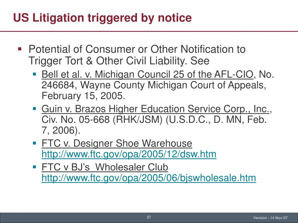 US Litigation triggered by notice