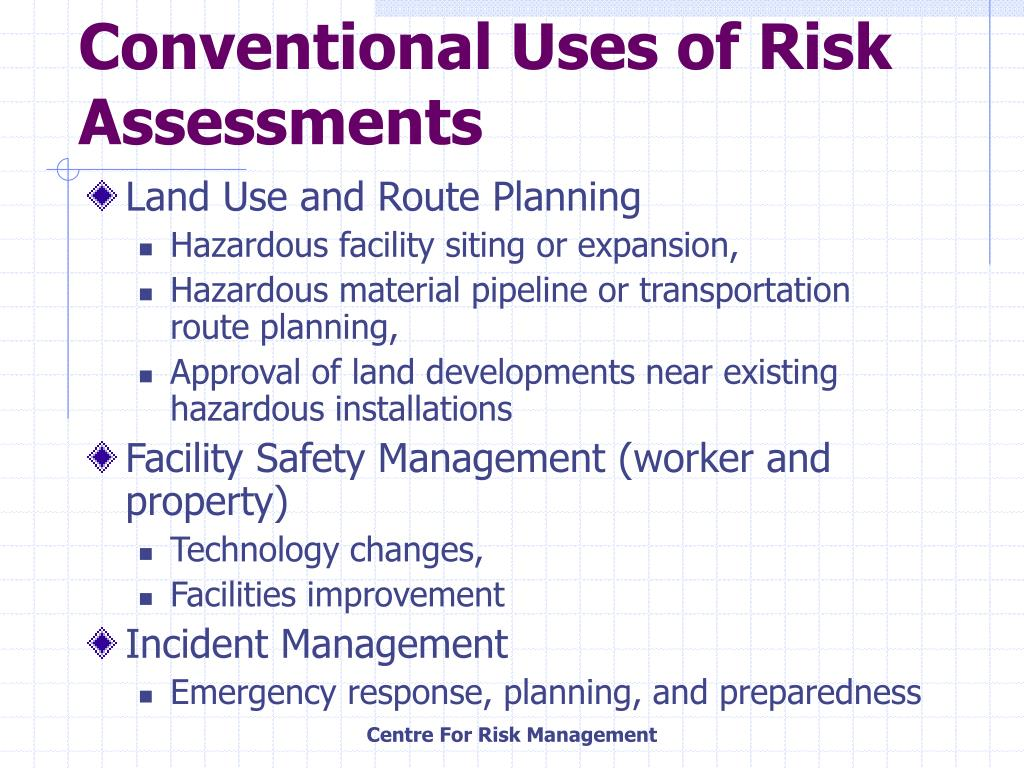 Conventional Uses of Risk Assessments
