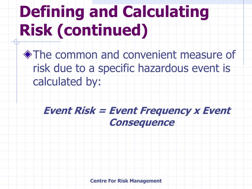 Defining and Calculating Risk (continued)