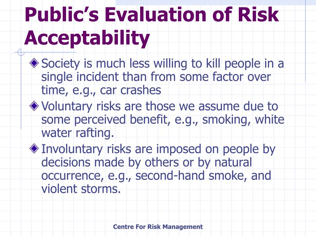 Public's Evaluation of Risk Acceptability