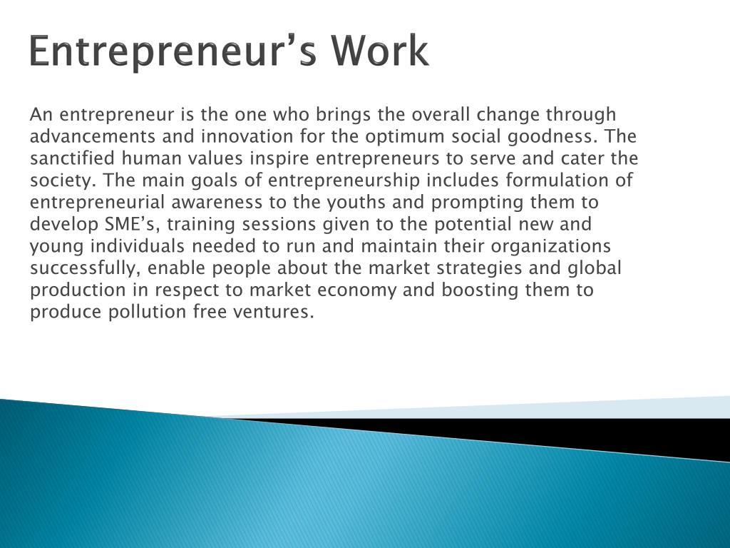 Entrepreneur's Work
